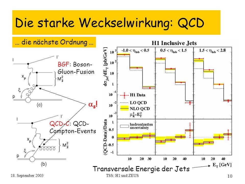 18. September 2003TSS: H1 und ZEUS 10 Die starke Weckselwirkung: QCD BGF: Boson- Gluon-Fusion QCD-C: QCD- Compton-Events … die nächste Ordnung … s!s