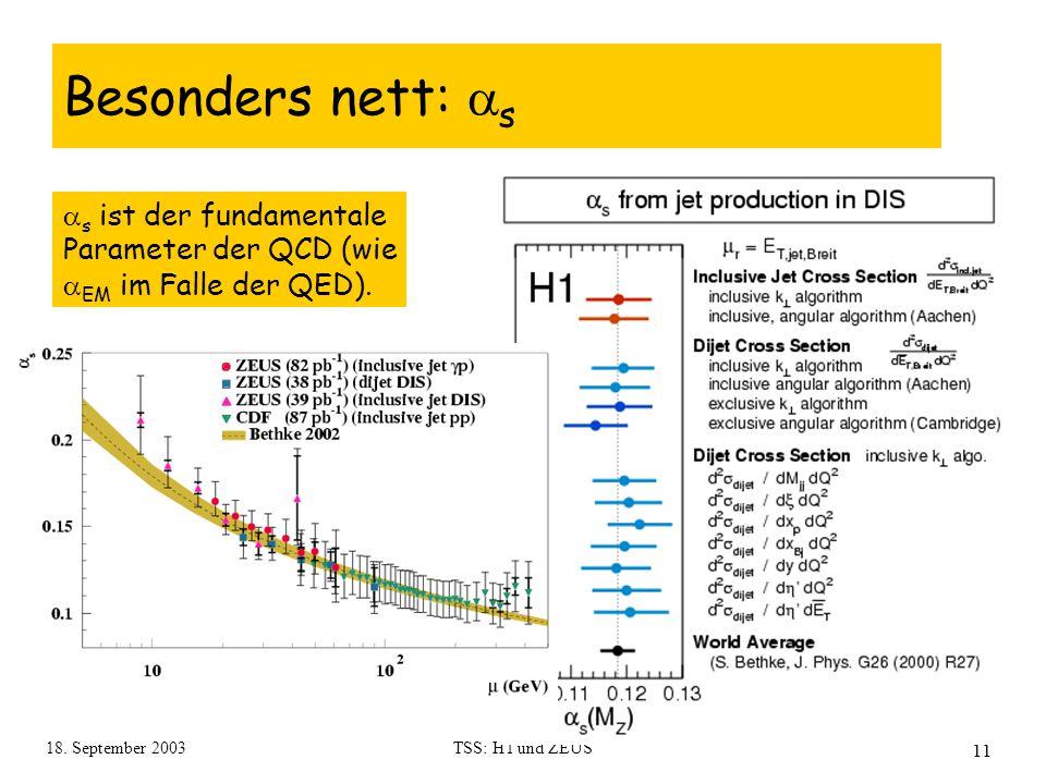 18. September 2003TSS: H1 und ZEUS 11 Besonders nett:  s  s ist der fundamentale Parameter der QCD (wie  EM im Falle der QED).