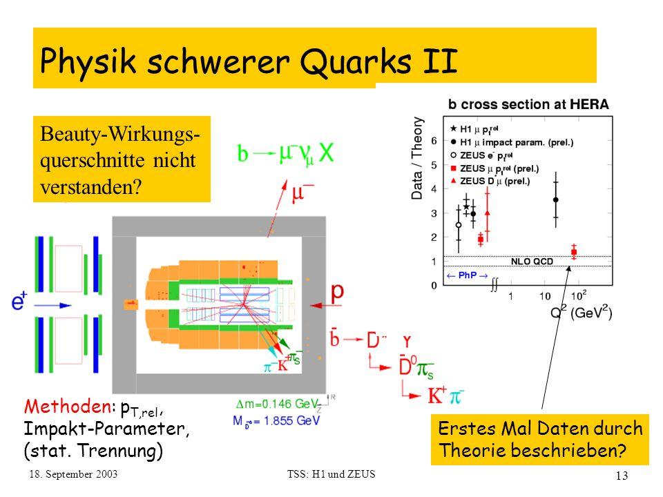 18. September 2003TSS: H1 und ZEUS 13 Physik schwerer Quarks II Erstes Mal Daten durch Theorie beschrieben? Beauty-Wirkungs- querschnitte nicht versta