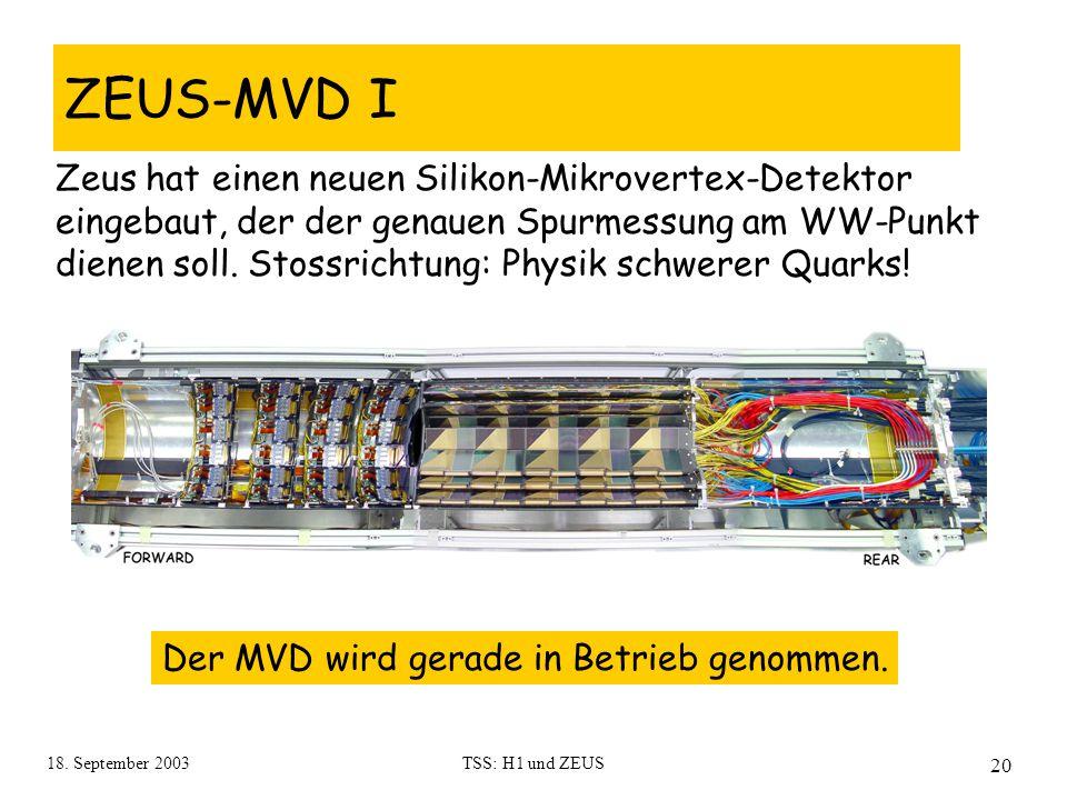 18. September 2003TSS: H1 und ZEUS 20 ZEUS-MVD I Zeus hat einen neuen Silikon-Mikrovertex-Detektor eingebaut, der der genauen Spurmessung am WW-Punkt
