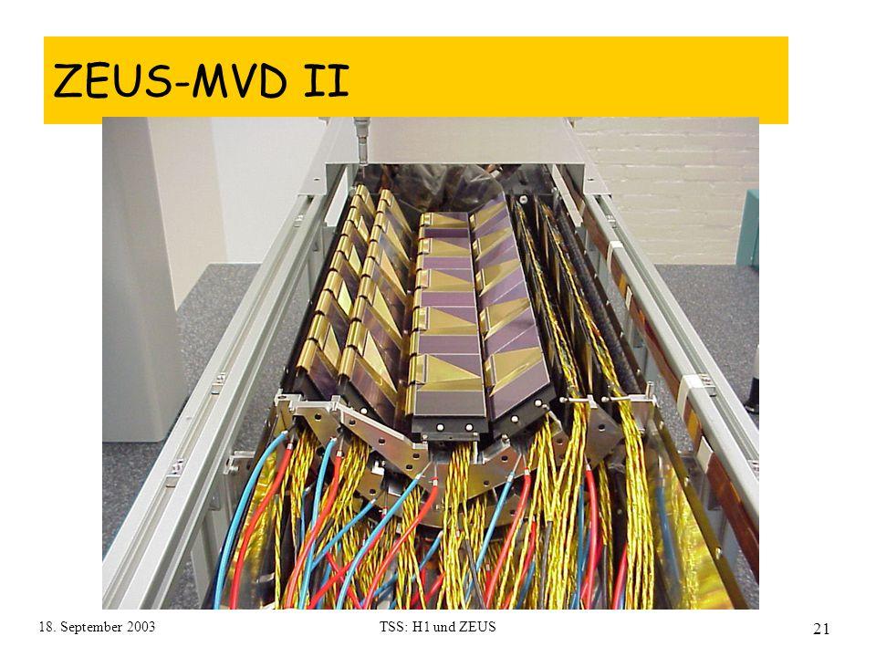 18. September 2003TSS: H1 und ZEUS 21 ZEUS-MVD II