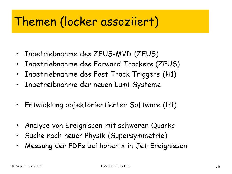 18. September 2003TSS: H1 und ZEUS 26 Themen (locker assoziiert) Inbetriebnahme des ZEUS-MVD (ZEUS) Inbetriebnahme des Forward Trackers (ZEUS) Inbetri