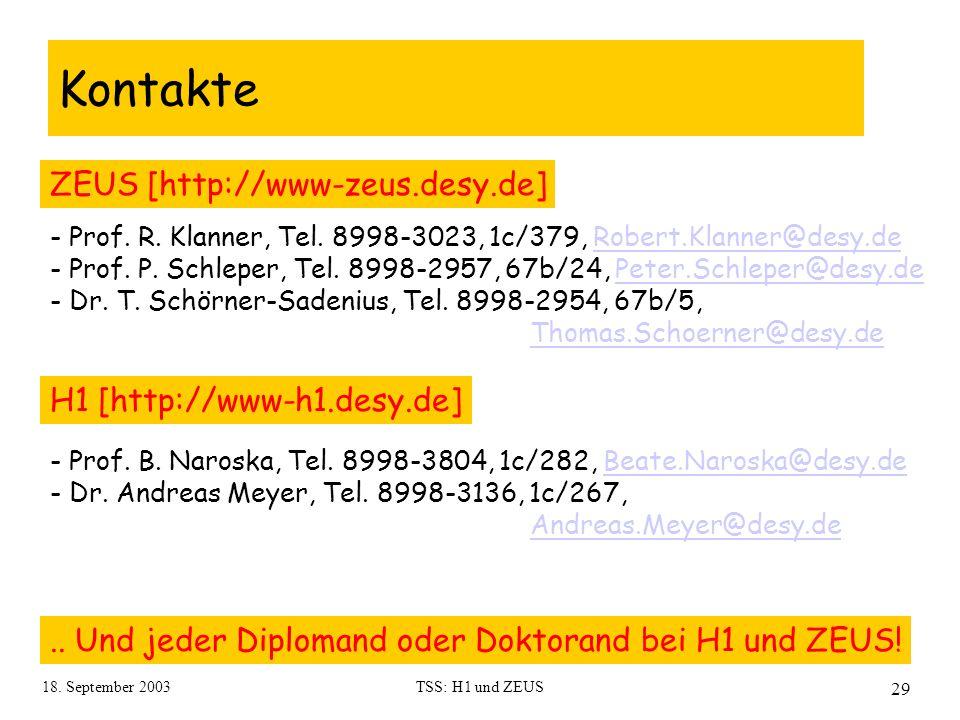 18. September 2003TSS: H1 und ZEUS 29 Kontakte.. Und jeder Diplomand oder Doktorand bei H1 und ZEUS! ZEUS [http://www-zeus.desy.de] H1 [http://www-h1.
