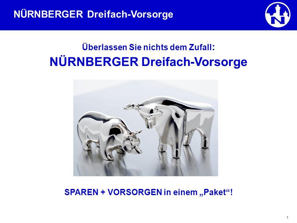 """1 Überlassen Sie nichts dem Zufall : NÜRNBERGER Dreifach-Vorsorge SPAREN + VORSORGEN in einem """"Paket ."""