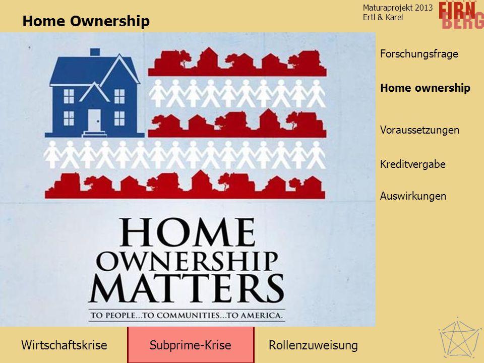 RollenzuweisungWirtschaftskrise Subprime-Krise Kreditvergabe Auswirkungen Voraussetzungen Home ownership Forschungsfrage Maturaprojekt 2013 Ertl & Karel Home Ownership Home ownership