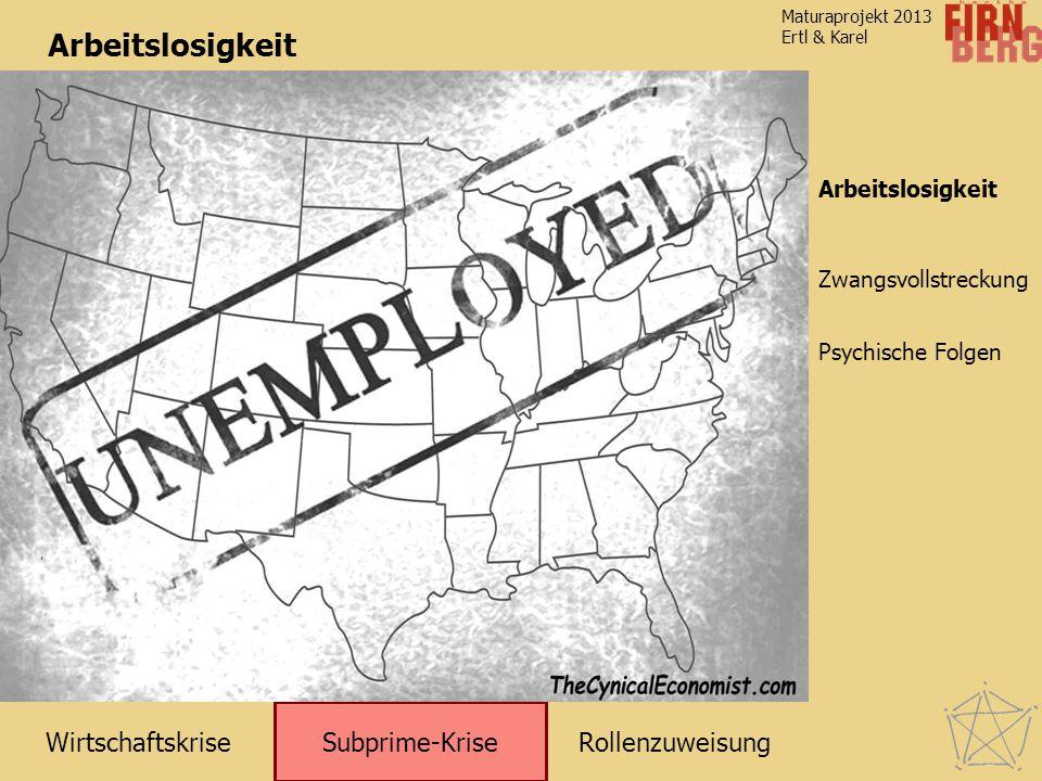 RollenzuweisungWirtschaftskrise Subprime-Krise Zwangsvollstreckung Arbeitslosigkeit Maturaprojekt 2013 Ertl & Karel Psychische Folgen Arbeitslosigkeit