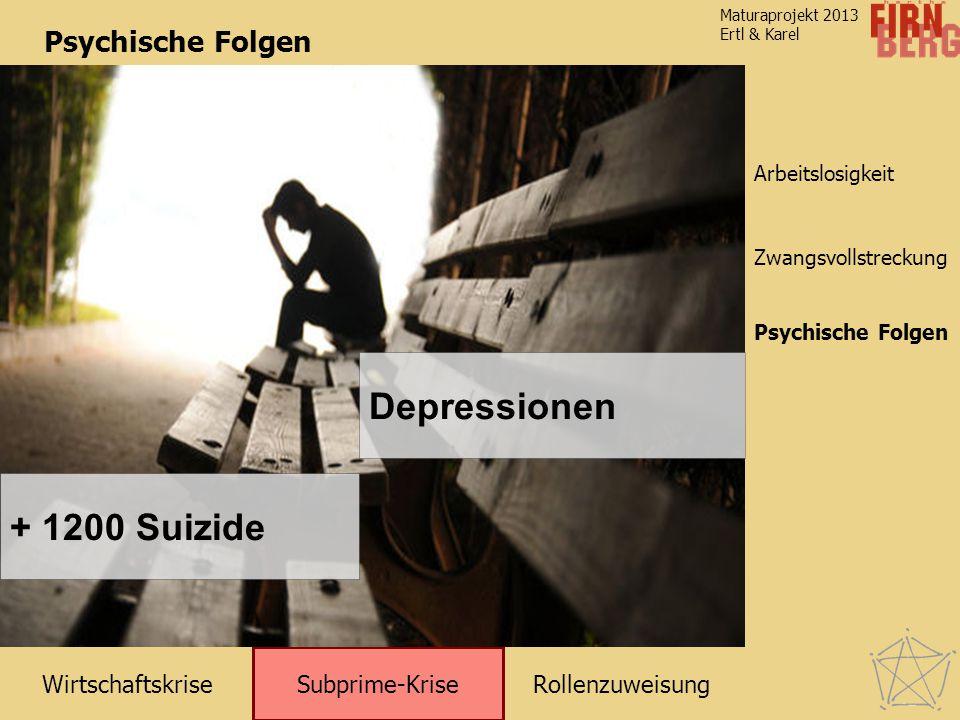 RollenzuweisungWirtschaftskrise Subprime-Krise Zwangsvollstreckung Arbeitslosigkeit Maturaprojekt 2013 Ertl & Karel Psychische Folgen + 1200 Suizide Depressionen