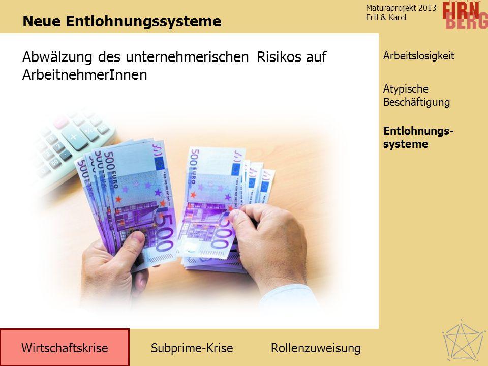 Subprime-KriseRollenzuweisung Wirtschaftskrise Arbeitslosigkeit Entlohnungs- systeme Atypische Beschäftigung Maturaprojekt 2013 Ertl & Karel Neue Entlohnungssysteme Abwälzung des unternehmerischen Risikos auf ArbeitnehmerInnen Entlohnungs- systeme