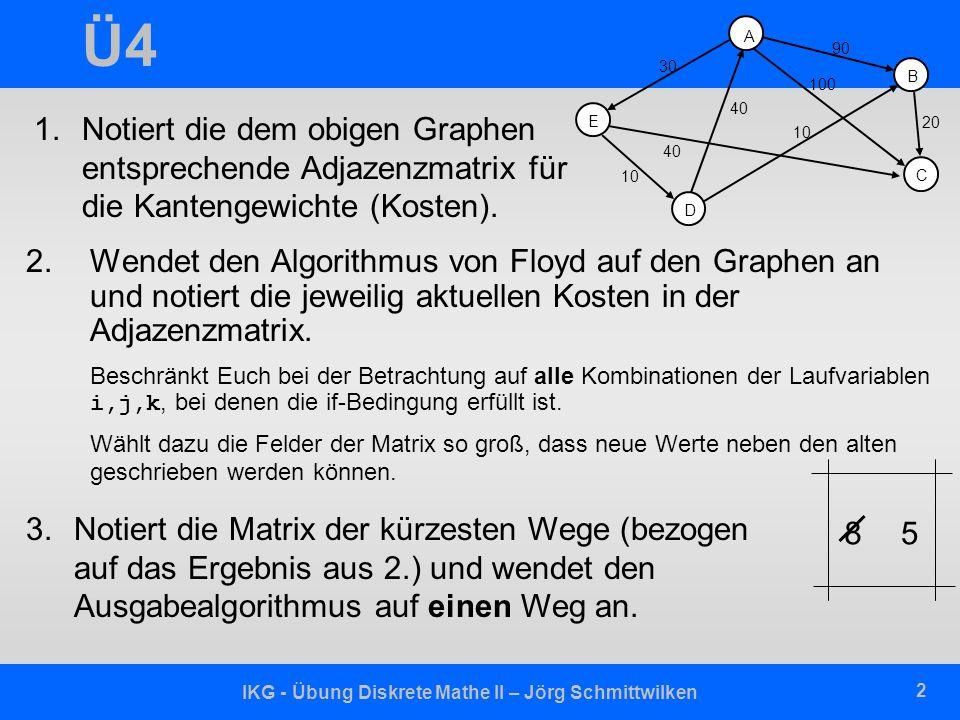 IKG - Übung Diskrete Mathe II – Jörg Schmittwilken 2 Ü4 2.Wendet den Algorithmus von Floyd auf den Graphen an und notiert die jeweilig aktuellen Koste