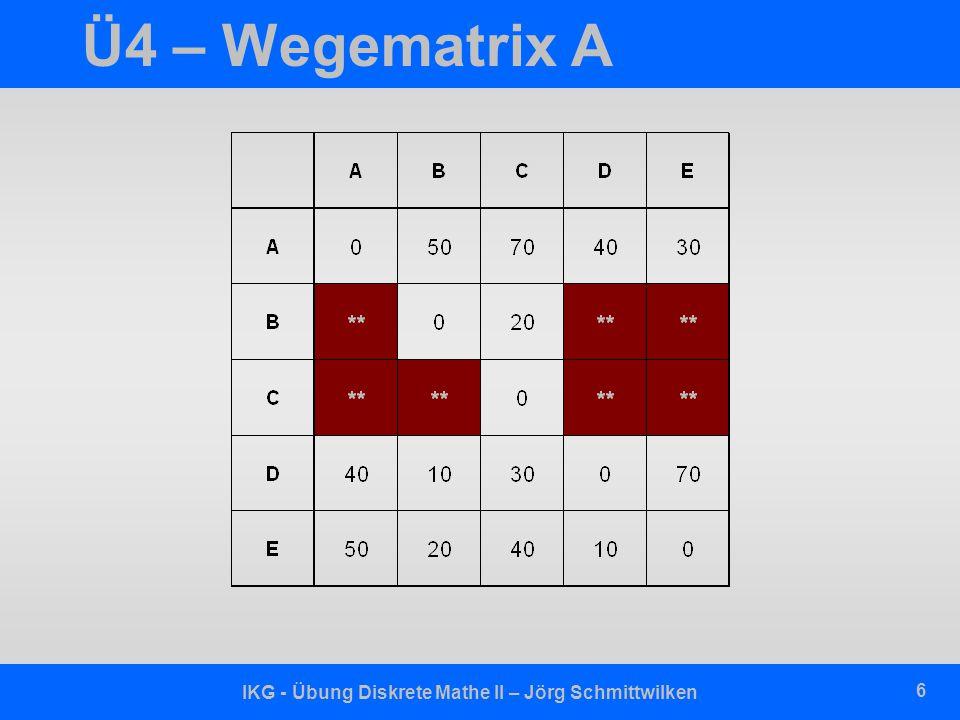 IKG - Übung Diskrete Mathe II – Jörg Schmittwilken 6 Ü4 – Wegematrix A