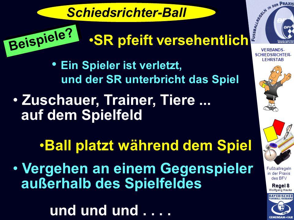 VERBANDS- SCHIEDSRICHTER- LEHRSTAB Fußballregeln in der Praxis des BFV Regel 8 Wolfgang Hauke SR pfeift versehentlich Ein Spieler ist verletzt, und der SR unterbricht das Spiel Zuschauer, Trainer, Tiere...