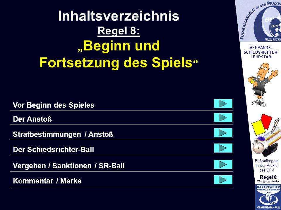 VERBANDS- SCHIEDSRICHTER- LEHRSTAB Fußballregeln in der Praxis des BFV Regel 8 Wolfgang Hauke Wie.