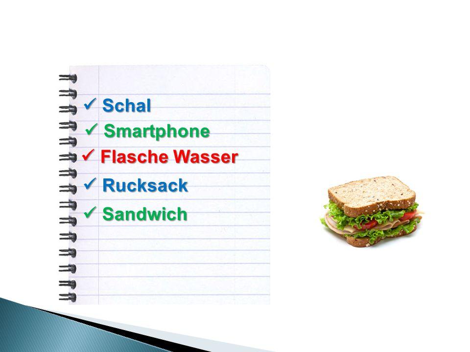 Schal Schal Smartphone Smartphone Flasche Wasser Flasche Wasser Rucksack Rucksack Sandwich Sandwich