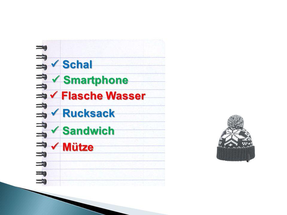 Schal Schal Smartphone Smartphone Flasche Wasser Flasche Wasser Rucksack Rucksack Sandwich Sandwich Mütze Mütze