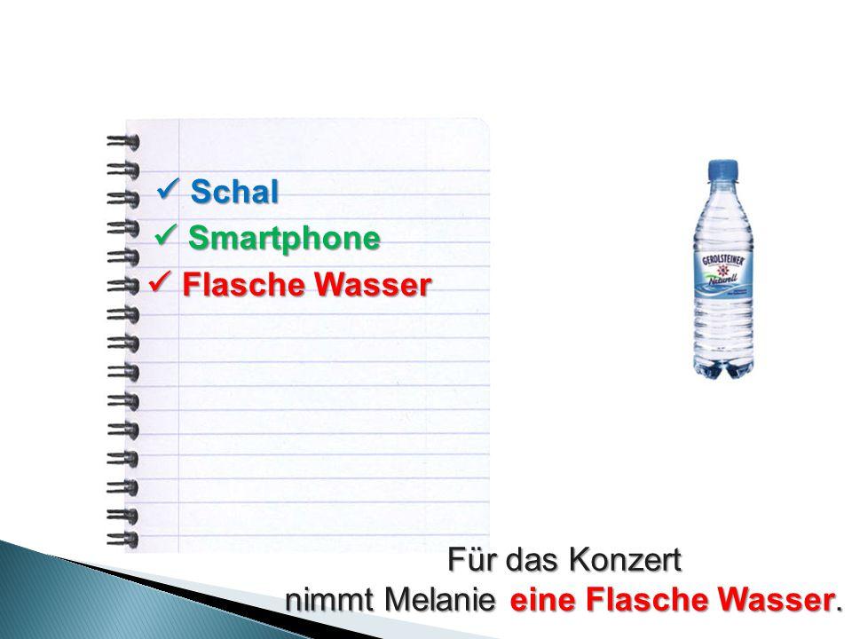 Schal Schal Smartphone Smartphone Flasche Wasser Flasche Wasser Für das Konzert nimmt Melanie eine Flasche Wasser.