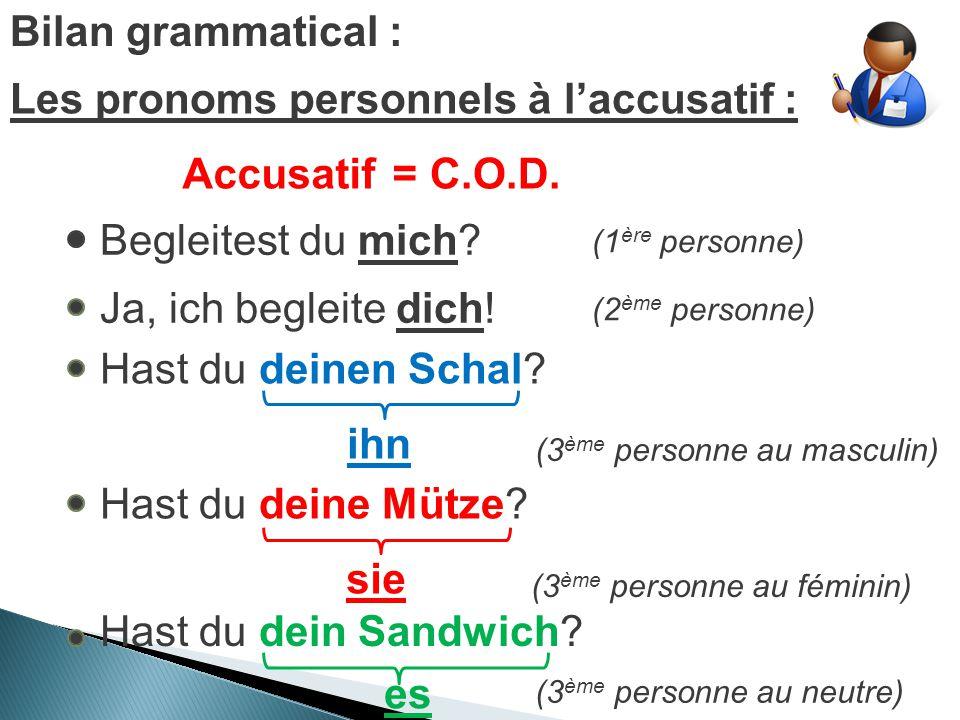 Bilan grammatical : Les pronoms personnels à l'accusatif : Rappel:Accusatif=C.O.D.