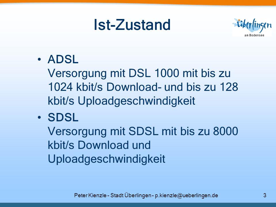 Peter Kienzle – Stadt Überlingen – p.kienzle@ueberlingen.de3 Ist-Zustand ADSL Versorgung mit DSL 1000 mit bis zu 1024 kbit/s Download- und bis zu 128