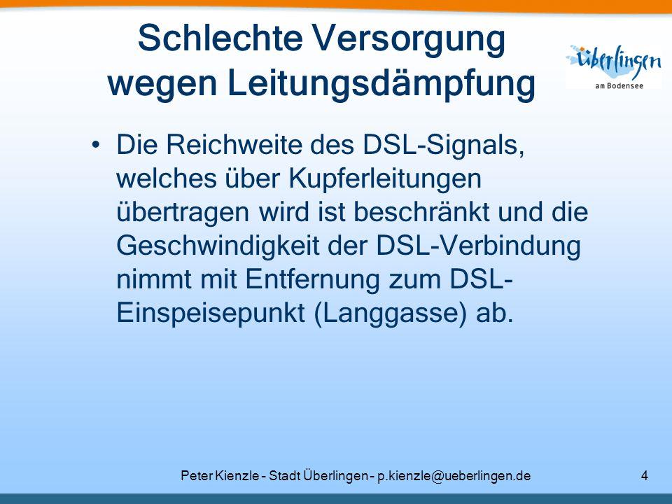 Peter Kienzle – Stadt Überlingen – p.kienzle@ueberlingen.de4 Schlechte Versorgung wegen Leitungsdämpfung Die Reichweite des DSL-Signals, welches über