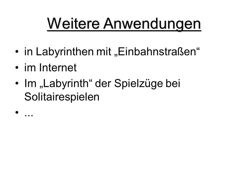 """Weitere Anwendungen in Labyrinthen mit """"Einbahnstraßen"""" im Internet Im """"Labyrinth"""" der Spielzüge bei Solitairespielen..."""