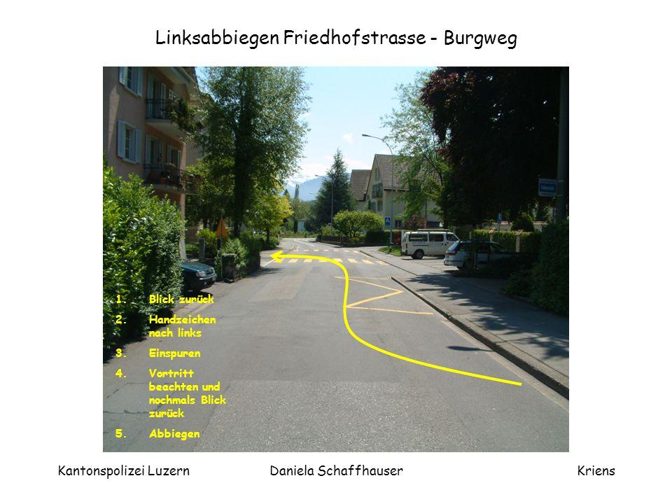 Kantonspolizei LuzernDaniela SchaffhauserKriens Infolge Linksabbiegen im Verkehr darf hier über den Fussgängerstreifen gefahren werden.