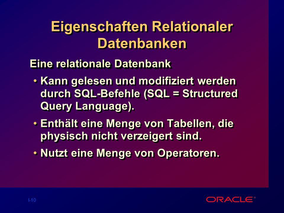 I-10 Eigenschaften Relationaler Datenbanken Eine relationale Datenbank Kann gelesen und modifiziert werden durch SQL-Befehle (SQL = Structured Query Language).
