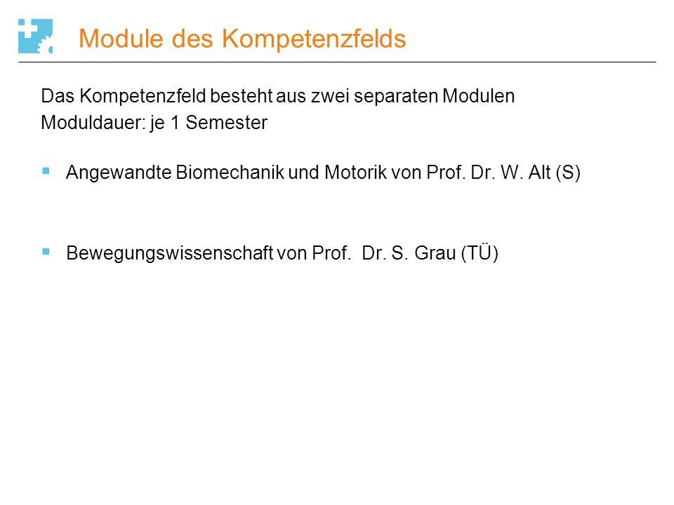 Module des Kompetenzfelds Das Kompetenzfeld besteht aus zwei separaten Modulen Moduldauer: je 1 Semester  Angewandte Biomechanik und Motorik von Prof
