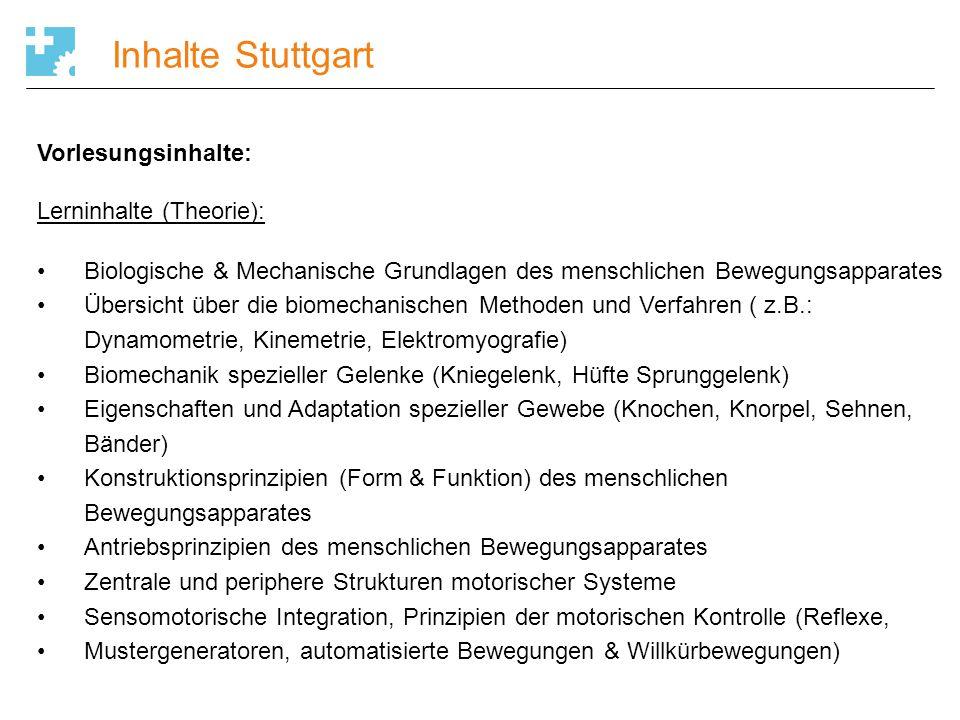 Inhalte Stuttgart Vorlesungsinhalte: Lerninhalte (Theorie): Biologische & Mechanische Grundlagen des menschlichen Bewegungsapparates Übersicht über di