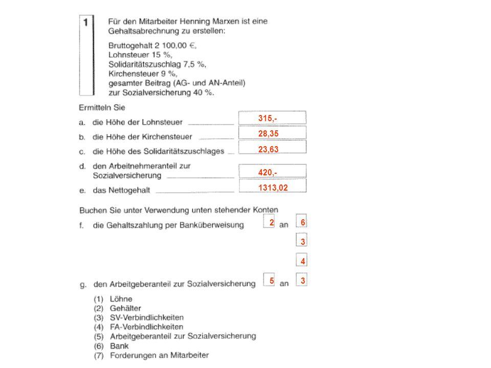 Lösen Sie bitte die Aufgaben 2 – 5