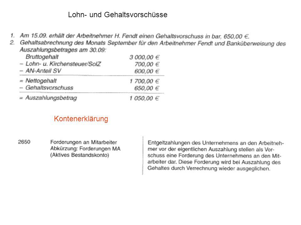 Lohn- und Gehaltsvorschüsse Kontenerklärung