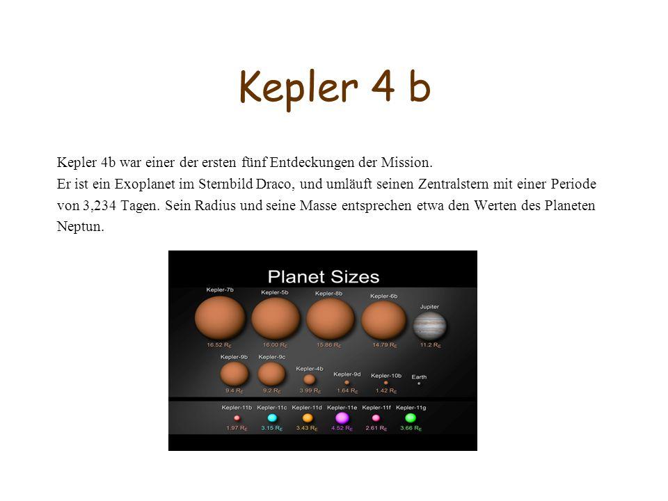 Kepler 4 b Kepler 4b war einer der ersten fünf Entdeckungen der Mission. Er ist ein Exoplanet im Sternbild Draco, und umläuft seinen Zentralstern mit