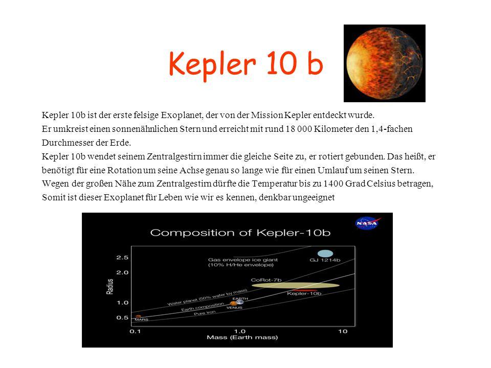 Kepler 10 b Kepler 10b ist der erste felsige Exoplanet, der von der Mission Kepler entdeckt wurde. Er umkreist einen sonnenähnlichen Stern und erreich