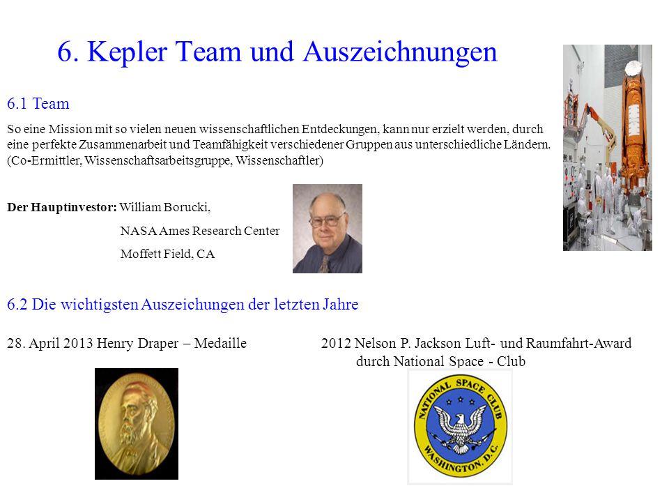 6. Kepler Team und Auszeichnungen 6.2 Die wichtigsten Auszeichungen der letzten Jahre 28. April 2013 Henry Draper – Medaille 2012 Nelson P. Jackson Lu