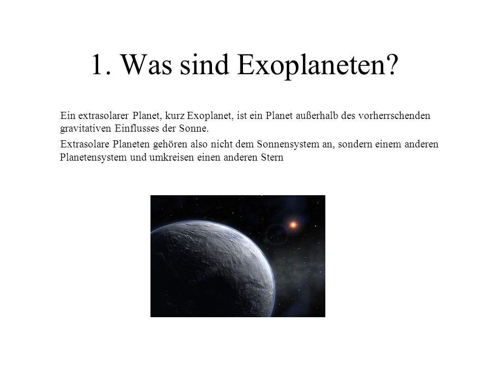 1. Was sind Exoplaneten? Ein extrasolarer Planet, kurz Exoplanet, ist ein Planet außerhalb des vorherrschenden gravitativen Einflusses der Sonne. Extr