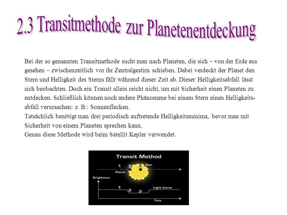 Bei der so genannten Transitmethode sucht man nach Planeten, die sich – von der Erde aus gesehen – zwischenzeitlich vor ihr Zentralgestirn schieben. D