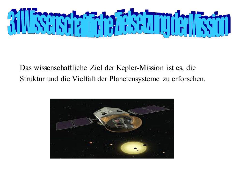 Das wissenschaftliche Ziel der Kepler-Mission ist es, die Struktur und die Vielfalt der Planetensysteme zu erforschen.