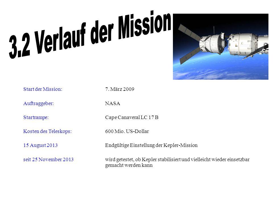 Start der Mission: 7. März 2009 Auftraggeber: NASA Startrampe: Cape Canaveral LC 17 B Kosten des Teleskops: 600 Mio. US-Dollar 15 August 2013 Endgülti