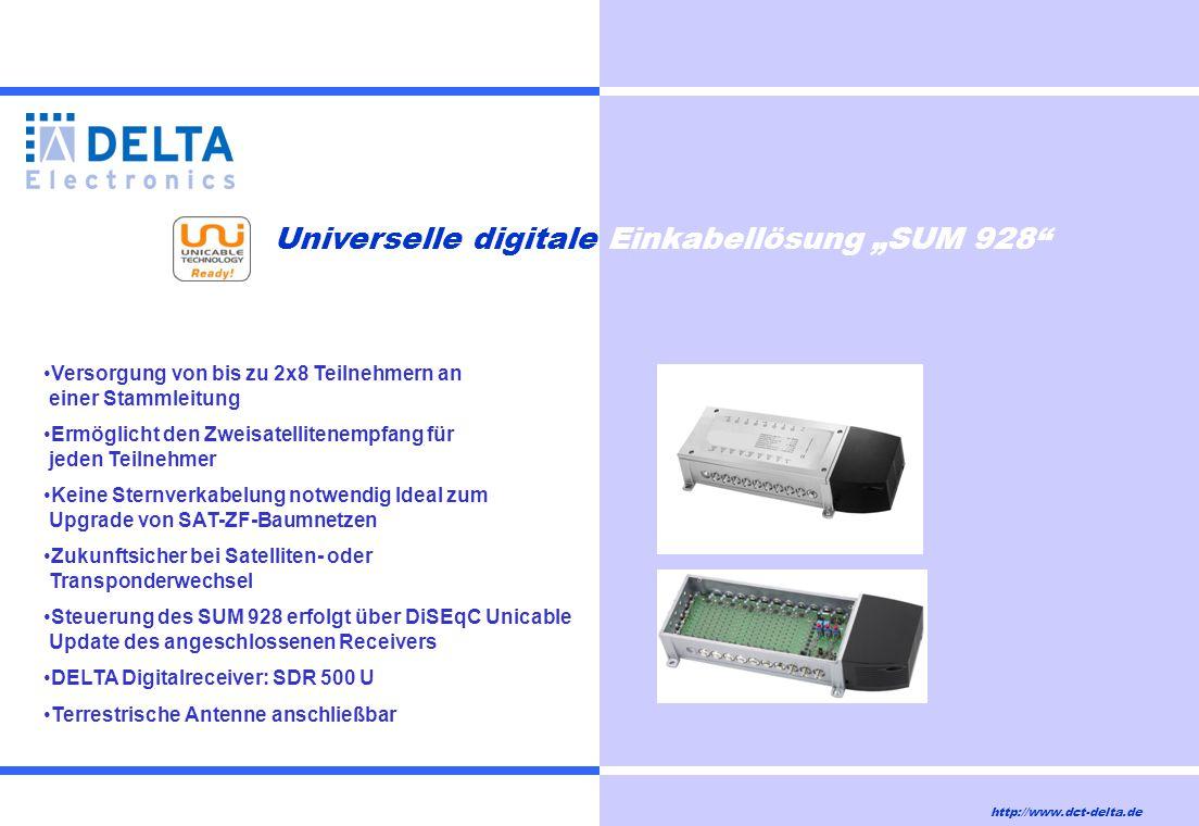 """http://www.dct-delta.de Universelle digitale Einkabellösung """"SUM 928"""" Versorgung von bis zu 2x8 Teilnehmern an einer Stammleitung Ermöglicht den Zweis"""