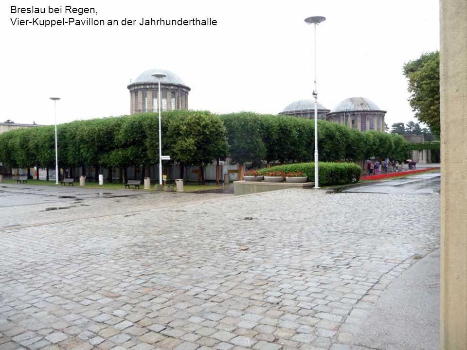 Breslau bei Regen, Jahrhunderthalle, Nadel und Säulen des ehemaligen Haupteingangs zum Messegelände.
