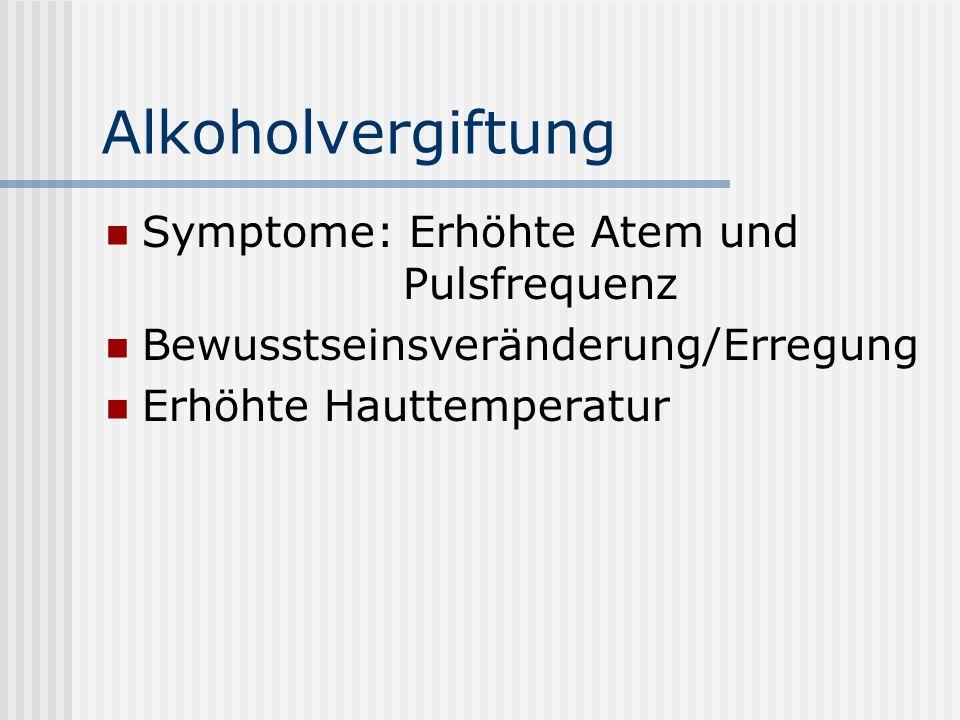 Alkoholvergiftung Symptome: Erhöhte Atem und Pulsfrequenz Bewusstseinsveränderung/Erregung Erhöhte Hauttemperatur