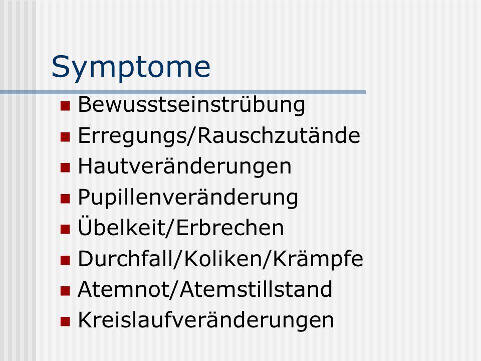 Symptome Bewusstseinstrübung Erregungs/Rauschzutände Hautveränderungen Pupillenveränderung Übelkeit/Erbrechen Durchfall/Koliken/Krämpfe Atemnot/Atemst