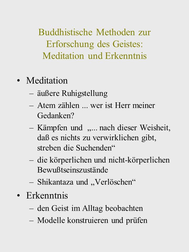 Buddhistische Methoden zur Erforschung des Geistes: Meditation und Erkenntnis Meditation –äußere Ruhigstellung –Atem zählen...