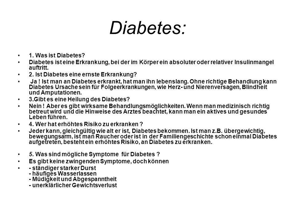 Diabetes: 1.Was ist Diabetes.