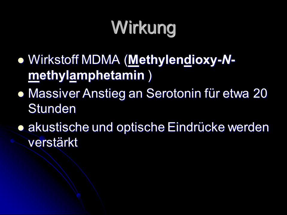 Wirkung Wirkstoff MDMA (Methylendioxy-N- methylamphetamin ) Wirkstoff MDMA (Methylendioxy-N- methylamphetamin ) Massiver Anstieg an Serotonin für etwa 20 Stunden Massiver Anstieg an Serotonin für etwa 20 Stunden akustische und optische Eindrücke werden verstärkt akustische und optische Eindrücke werden verstärkt