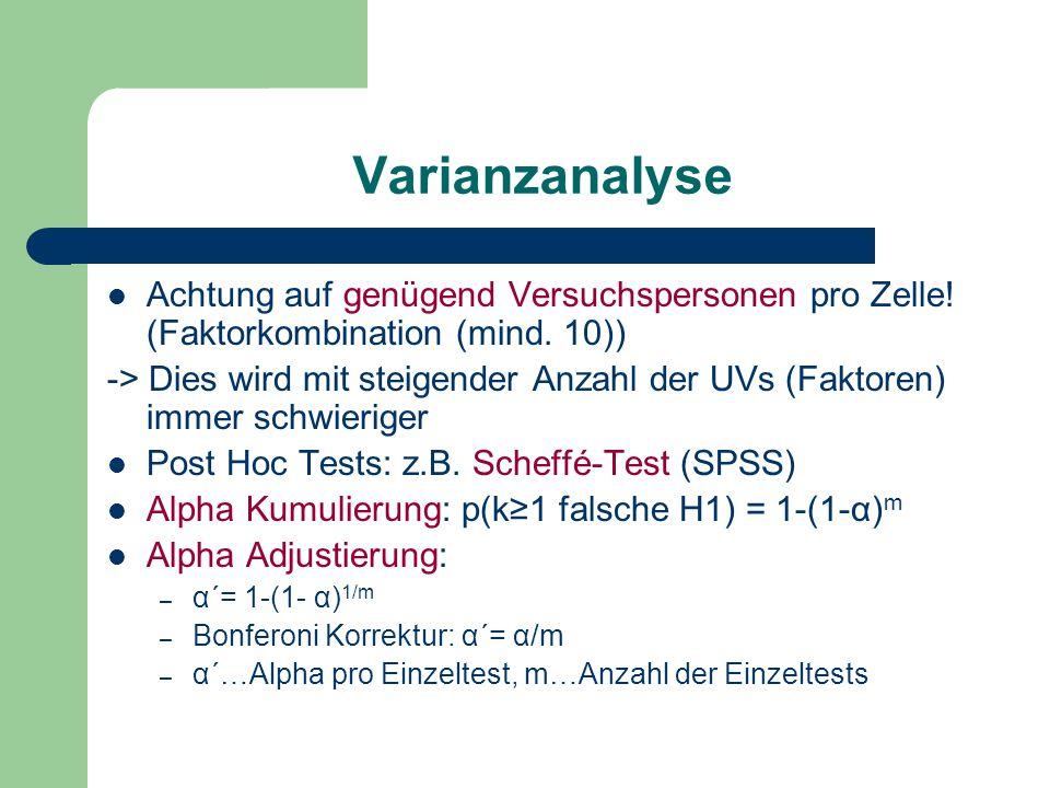 Varianzanalyse Achtung auf genügend Versuchspersonen pro Zelle.