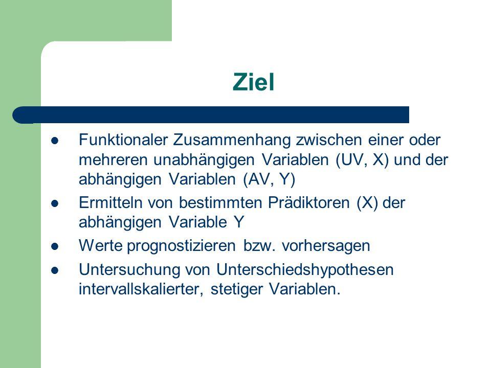 Ziel Funktionaler Zusammenhang zwischen einer oder mehreren unabhängigen Variablen (UV, X) und der abhängigen Variablen (AV, Y) Ermitteln von bestimmten Prädiktoren (X) der abhängigen Variable Y Werte prognostizieren bzw.