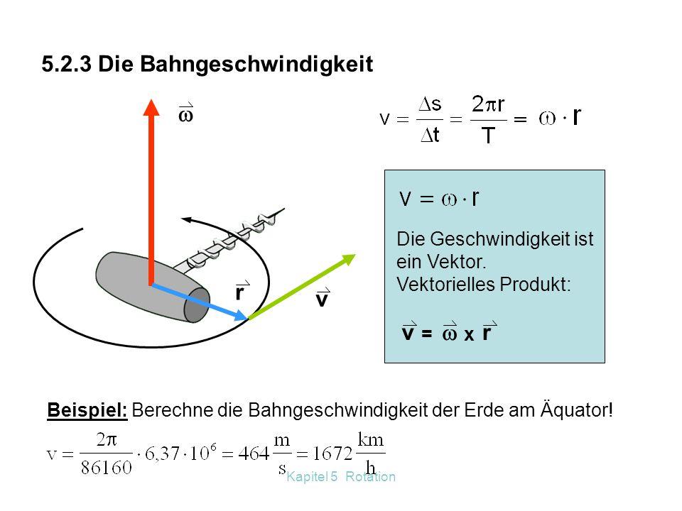 Kapitel 5 Rotation 5.2.2 Winkelbeschleunigung – ungleichförmige Rotation Wird eine Rotation schneller oder langsamer, ändert sich die Winkelgeschwindi