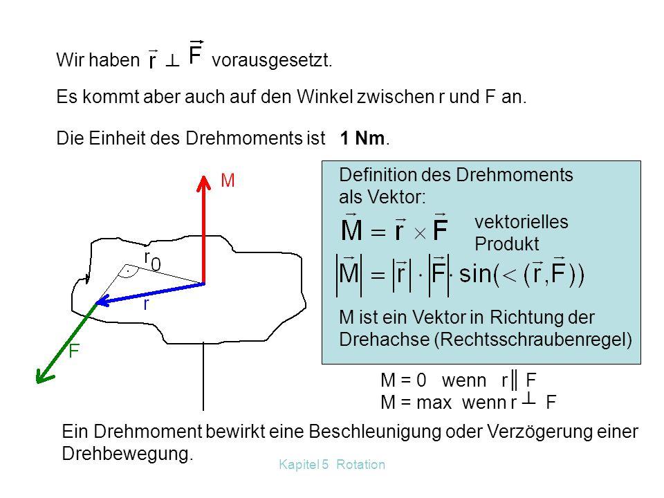 5.6.2 Das Drehmoment 5.6.2.1 Gleichgewichtsbedingung Der Hebel ┴ Wir heben die Last F 1. Dazu üben wir eine Kraft F 2 längs b 2 aus. Arbeit: W 1 = W 2