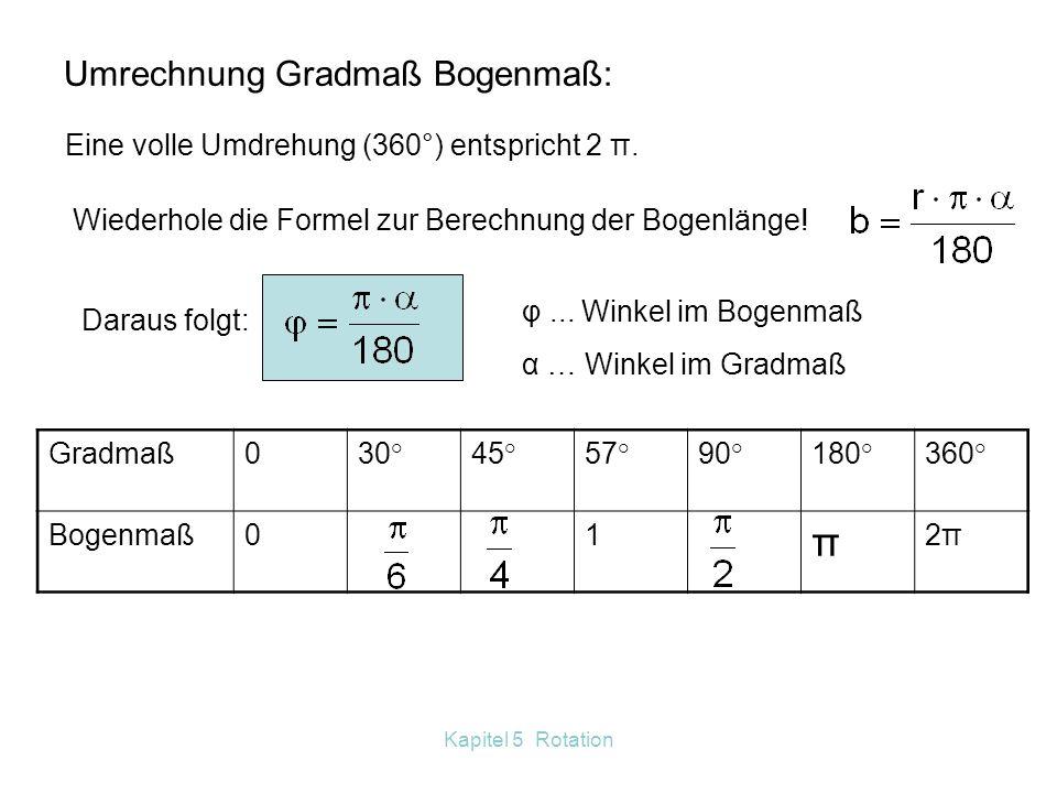 Kapitel 5 Rotation 5.7 Analogien Translation-Rotation Erstelle eine Tabelle ähnlich wie im Buch auf Seite 93.