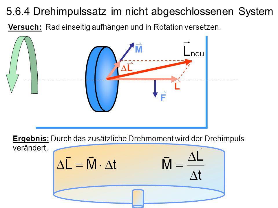 Kapitel 5 Rotation 5.6.3 Bewegungsgleichung für die Rotation Analog zu F = m·a setzen wir: M = I·α wobei: M.... Drehmoment; I... Trägheitsmoment; α...