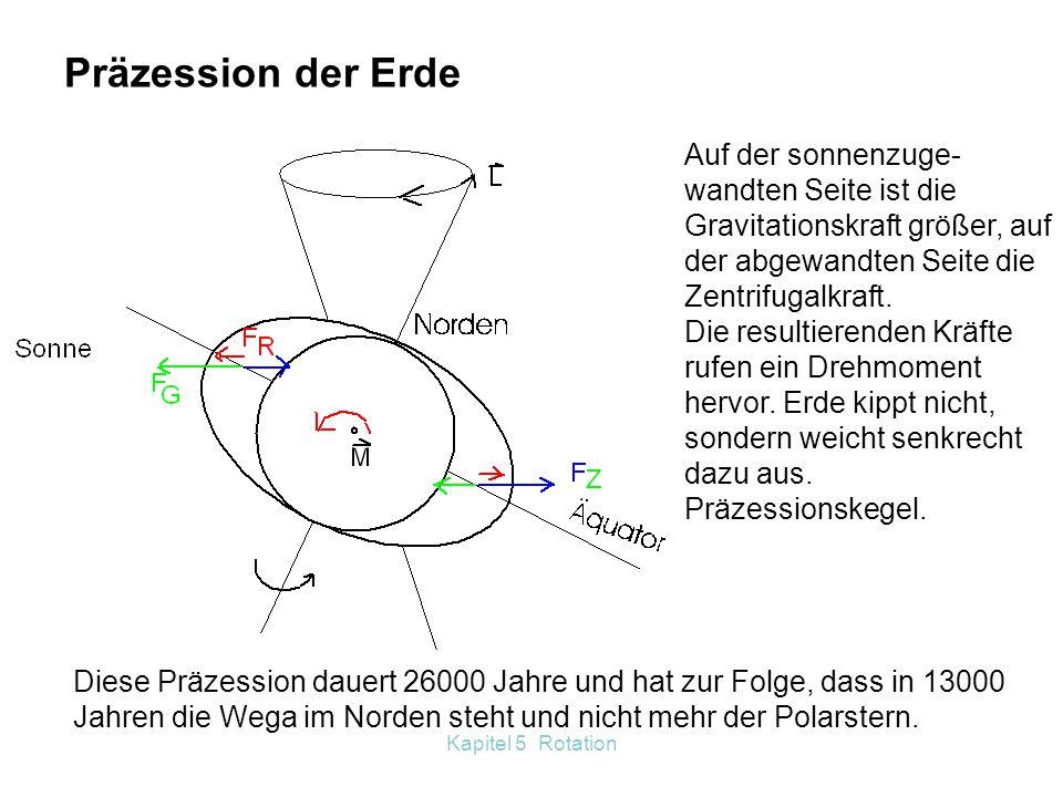 Kapitel 5 Rotation Kippt man das Fahrrad nach links, entsteht ein Drehmoment, welches eine Richtungsänderung der Radachse nach links hervorruft. M ΔLΔ
